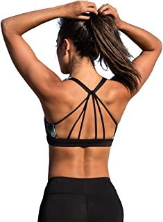 icyzone Padded Strappy Sports Bra Yoga Tops Activewear Workout Clothes Women
