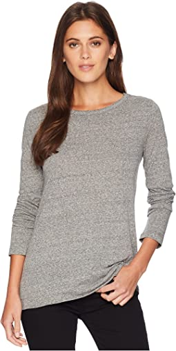 Melange Heather Loose Asymmetrical Crew Long Sleeve Tee