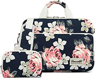 canvaslife 360 Degree Protective Water Resistant Laptop Shoulder Messenger Sleeve Case Bag (15 inch-15.6 inch, New white roses)