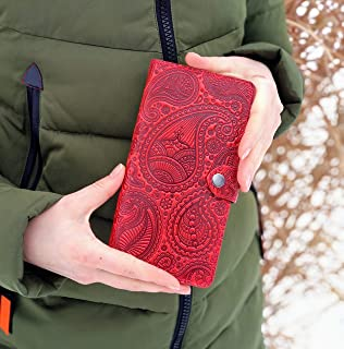 Red Wallet Paisley Handmade Wallet Top Grain Leather Wallet Women Large Wallet Purse Woman Wallet RFID