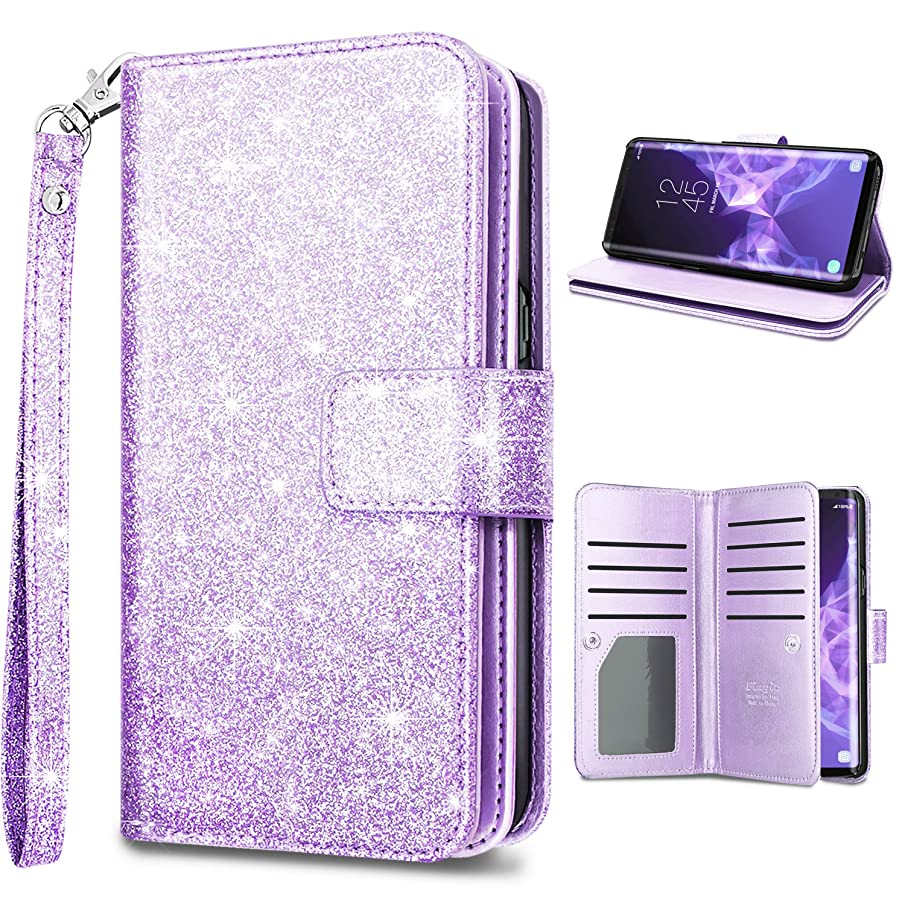 Samsung S9 Case,Galaxy S9 Wallet Case,Fingic Glitter Sparkle Cover 9 Card Holder PU Leather Detachable Wrist Strap Wallet Case for Women Cover for Samsung Galaxy S9 (5.8inch),Purple