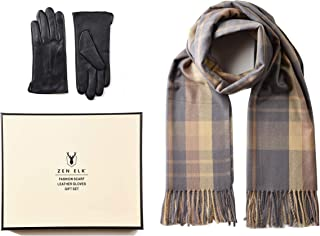 Women's Check/Tartan Scarf and Leather Gloves Gift Set