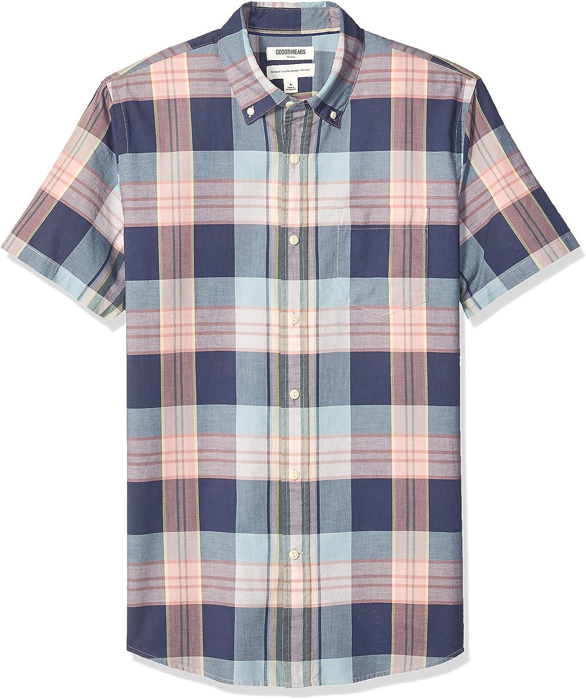 Amazon Brand - Goodthreads Men's Standard-Fit Short-Sleeve Lightweight Madras Plaid Shirt