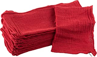 Auto Shop Towels, 100% Cotton Rags Absorbent for Auto Shops, Mechanics, Car Wash, Garage and Home Cleaning Supplies- 25 Pack, By Stalwart (Red)