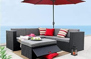 Baner Garden K35 K35-BL 4 Pieces L Shaped Outdoor Furniture Patio Sectional Wicker Rattan Garden Corner Sofa Couch Set, Full, Black