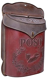 Red & Rust Post Box, Aged Vintage Inspired Shabby Chic Large Metal Mailbox, Wall Mounted Design, 11 x 15 Inches