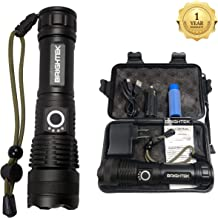 High Lumen Tactical LED Flashlight Rechargeable Waterproof Super Bright XHP50 Zoomable Powerful Best Camping Emergency Outdoor Flashlights with Charger & 18650 Battery Brightek linterna