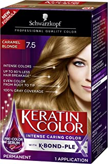 Schwarzkopf Keratin Color Permanent Hair Color Cream, 7.5 Caramel Blonde(Packaging May Vary)