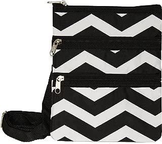 Womens 9 Inch Swingpack Purse Bag, Black White Chevron, One Size