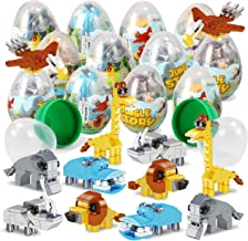 """12 Pcs Pre Filled Easter Eggs with Jungle Animals Building Blocks, 3.25"""" Eggs for Easter Basket Stuffers, Easter Party Favors, Easter Egg Hunt, Classroom Events"""