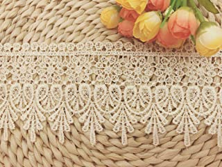 9CM Width Europe Chips Pattern Inelastic Embroidery Lace Trim,Curtain Tablecloth Slipcover Bridal DIY Clothing/Accessories.(2 Yards in one Package) (Ivory)