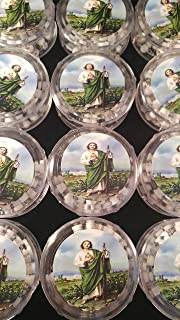 Saint Jude , White Wood Silver Cross Rosaries For Baptism/First Communion Party Pack 12. San Judas Tadeo.