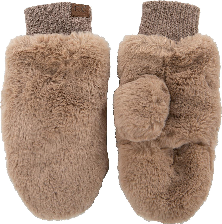 Funky Junque Faux Fur Flip Mittens Womens Warm Convertible Fingerless Gloves