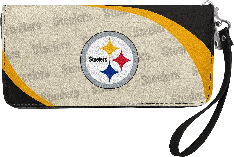 Littlearth Women's NFL Curve Zip Organizer Wallet with Detachable Wrist Strap, Team Color