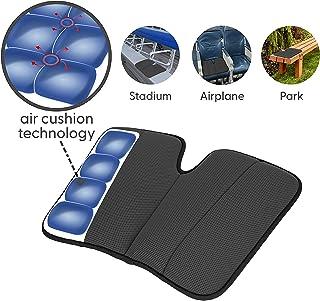 Dr. air Seat Cushion, Non-Slip Orthopedic Support Cushion, Back, Sciatica, Coccyx and Tailbone Pain, Stadium, bleacher, Park, Outdoor (Black (Portable))