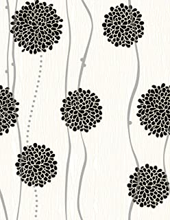 """Black and White Peel and Stick Wallpaper - Contact Paper or Wall Paper - Self Adhesive Wallpaper - Easily Removable Wallpaper - Black and White Wallpaper (Flowers) - 17.71"""" Wide x 118"""" Long"""