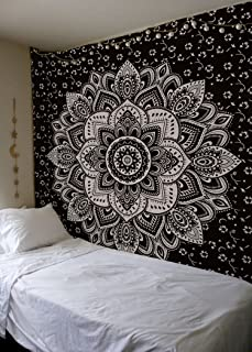 Madhu International New Launched Black Silver Passion Ombre Mandala Tapestry, Boho Mandala Tapestry, Wall Hanging, Gypsy Tapestry,Multicolor, 84 X 54 inches