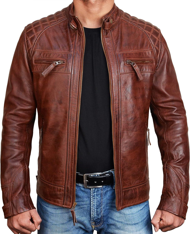 Brown Leather Mens Jacket - Cafe Racer Genuine Lambskin Black Leather Distressed Biker Jacket