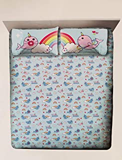 Trend Believe in Narwhals Twin Sheet Set Rainbows & Narwhals 3 Piece Set