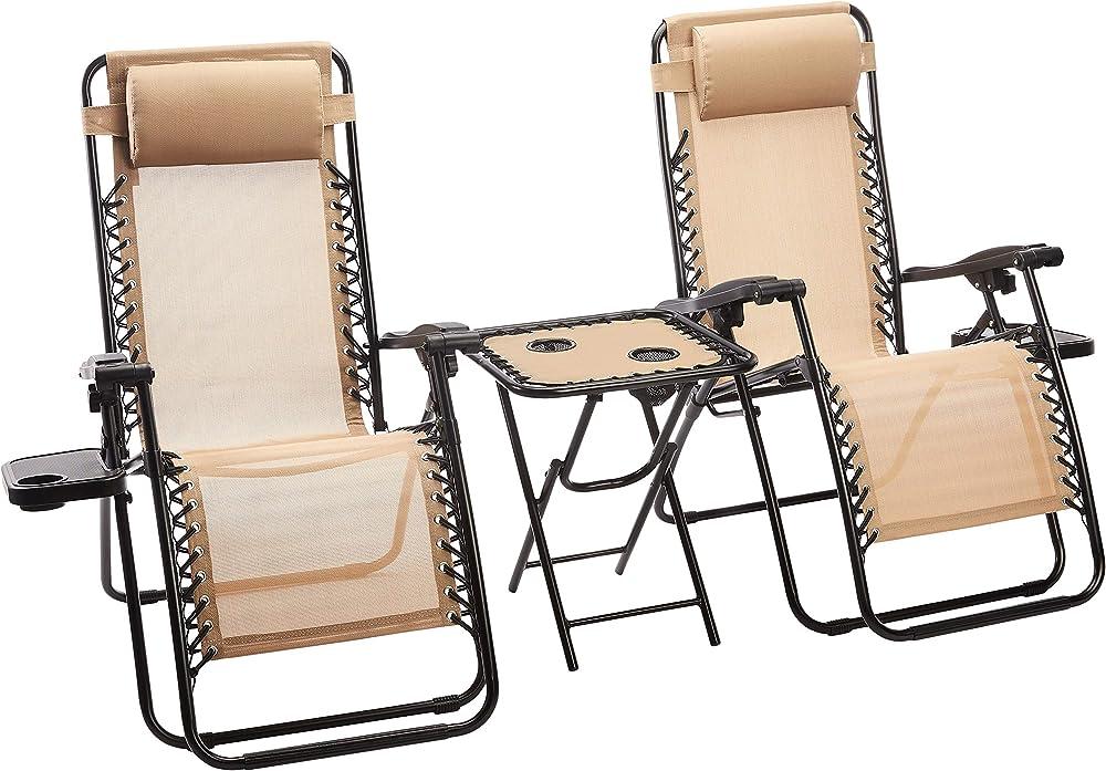 Amazon basics - set sedie a sdraio zero gravity con tavolino in tela e acciaio per giardino ?JC085