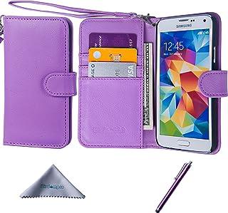 Samsung Galaxy S5 SC-04Fケース Wisdompro au SCL23 / i9600 対応 手帳型 合皮レザー ギャラクシー S5 カバー 横開き マグネット式 カードホルダー 四つポケット ストラップ付き パープル