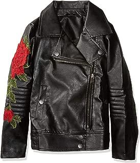 Girls' Big Elsa Rose Applique Pu Leather Jacket