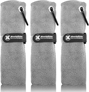 Microfiber Golf Towel (40x40cm) with Carabiner Clip, Hook and Loop Fastener - The Convenient Golf Cleaning Towel Pack, Han...