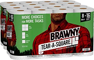 Brawny Tear-A-Square Paper Towels, 16 Double Rolls = 32 Regular Rolls, 3 Sheet Size Options, Quarter Size Sheets