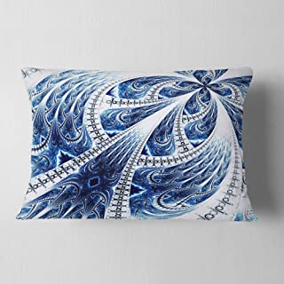 Designart Symmetrical Large Dark Blue Fractal Flower' Floral Throw Lumbar Cushion Pillow Cover for Living Room, sofa 12 i...