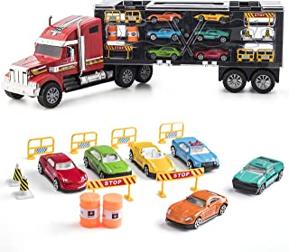 Prextex 24'' Detachable Carrier Truck Toy Car Transporter with Rubber Wheels & 6 Toy Cars Toys for Boys & Girls Red and Black