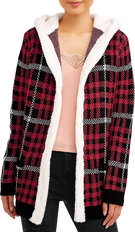 Juniors Sherpa Hood Cardigan (X-Small 1, Red Plaid)