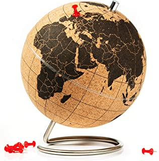SUCK UK Cork Push PINS Included Educational World MAP Travel Accessories Adventure & Memories Display Globe, Small, Brown/...