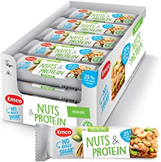 Pistachio Nuts & Protein Bars by Emco   Keto Snacks   Gluten Free, Low Carb, No Added Sugar, Vegan, Kosher   Plant-Based P...