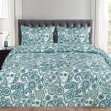 مجموعة غطاء لحاف من 3 قطع من سويت هوم كوليكشن، نمط أزرق/أزرق/ملكة، نقش بيزلي عصري