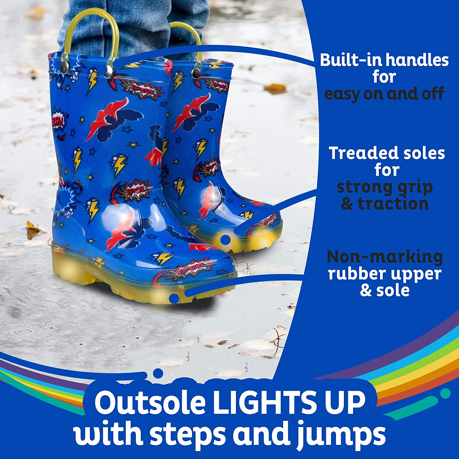 ZOOGS Light Up Kids Toddler Rain Boots for Girls and Boys with Handles