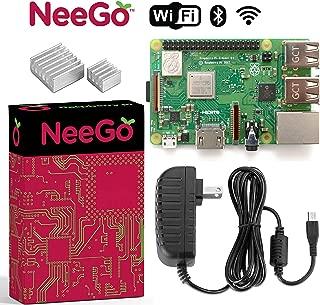 NeeGo Raspberry Pi 3 B+ (B Plus) Starter Kit Pi 3 Model B Barebones Computer Motherboard with 64bit Quad Core CPU & 1GB RAM, 2.5A Power Supply & Heatsink 2-Pack