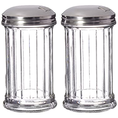 Update International Retro Style Sugar Dispenser/Pourer/Shaker, Glass Jar, Stainless Steel Pour-Flap Lid, 12 oz, Set of 2