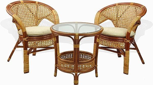 SunBear Furniture Lounge Set Of Pelangi Round Coffee Table And 2 Rattan Wicker Chairs ECO Handmade Design Cognac