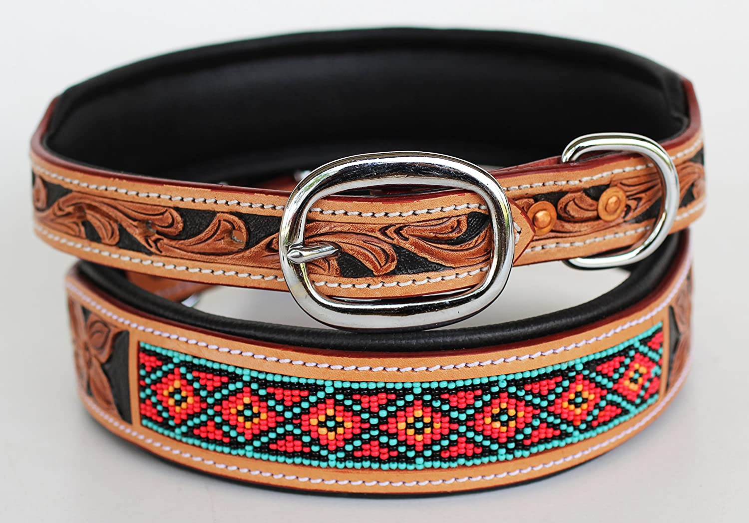 Dog Puppy Collar Cow Leather Adjustable Padded Canine 6089