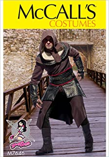 McCall's Patterns M7646MQQ Assassin's Tunic, Top, Capelet, Belt, and Gauntlet Cosplay Costume Sewing Pattern for Men by Yaya Han, Sizes 46-52