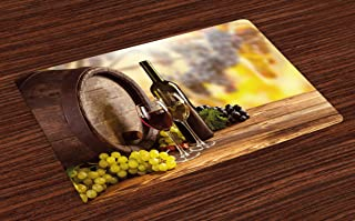 Ambesonne Wine Place Mats Set of 4, Red and White Wine Bottle Glass on Wooden Keg Quality Taste Traditional, Washable Fabric Placemats for Dining Table, Standard Size, Green Yellow