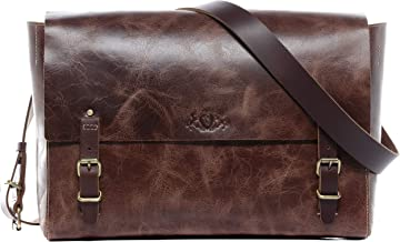 SID & VAIN Messenger Bag echt Leder Duncan Laptoptasche 13 Laptop Umhängetasche Laptopfach Ledertasche Herren braun