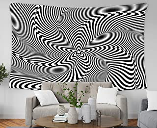 Music Handwritten Quote Wall Hanging Tapestry,Musesh 80x60 Inch Optical Illusion Abstract Background Hypnosis Twisted Spiral Design Concept For,Tapestries Wall Hanging for Bedroom Living Room Decor In