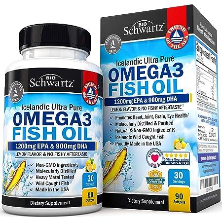 Omega 3 Fish Oil Supplement – Immune & Heart Support Benefits– Promotes Joint, Eyes, Brain & Skin Health - Non GMO, Pharmaceutical Grade - Lemon Flavor EPA 1200mg, DHA 900mg Fatty Acids Gluten Free