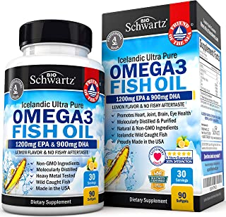 Omega 3 Fish Oil Supplement – Immune & Heart Support Benefits– Promotes Joint, Eyes, Brain & Skin Health - Non GMO, Pharma...