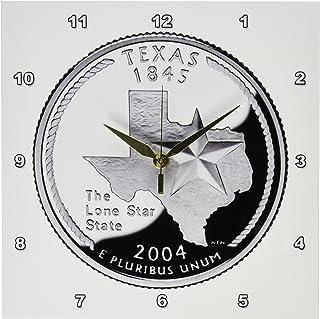 3dRose DPP_56967_1 Texas Collectible Quarter Wall Clock, 10 by 10-Inch
