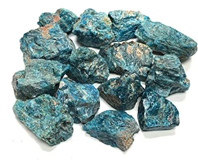 """Zentron Crystal Collection: Blue Apatite Large 1"""" Natural Rough Stones and Velvet Pouch Blue Apatite Large 1"""" Natural Rough Stones and Velvet Pouch (1/2 Pound)"""