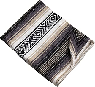 """Threads West Premium Large Heavyweight Mexican Falsa Blanket, Serape Stripe Yoga Blanket, Beach Blanket Available in 2 Sizes! (72"""" X 52"""") and (52"""