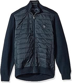 Men's Quilted Nylon Fz Sweater W/Stripe Neck Sweater