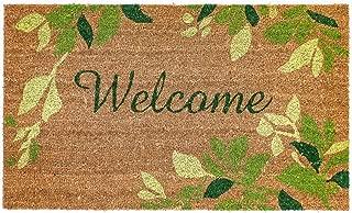 Liora Manne Natura Tropical Leaves Border Green Outdoor Welcome Coir Door Mat, 2' X 3'